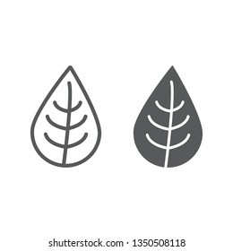 Leaf line and glyph icon, nature and eco, plant sign, vector graphics, a linear pattern on a white background, eps 10.
