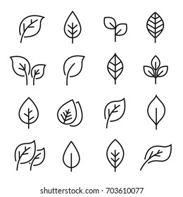 Leaf line icon set. Fertility and growth symbol, fresh natural beauty design element, youth and care. Leaf outline art illustration isolated on white background.