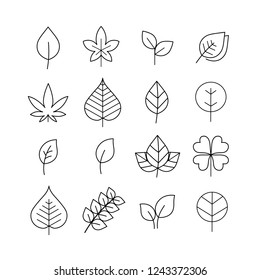 Leaf line icon set, Leaf vector, Vector symbols isolated on a white background. Simple pictograms.
