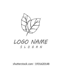 Leaf line icons vector leaves logo design