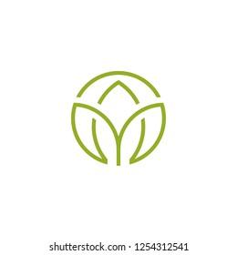 Leaf logo icon isolated on white background