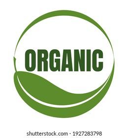 Leaf logo organic Label eco icon vector isolated background.