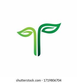 leaf logo that formed letter T