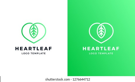 Leaf Logotype template, positive and negative variant, corporate identity for brands, love nature logo, vector design