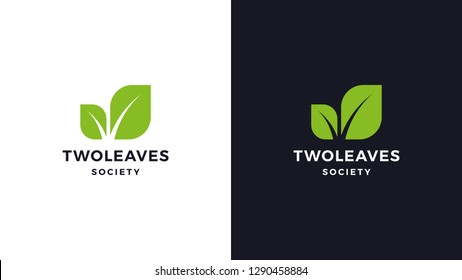 Leaf Logotype template, positive and negative variant, corporate identity for brands, nature logo, vector design