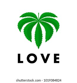 Leaf of marijuana with inscription Love on white isolated background