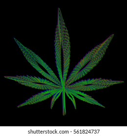 Leaf of marijuana made in blue green red colors on black background