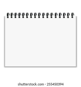 Leaf notebook with shadow on white background vector illustratio