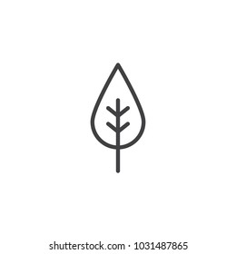 Leaf outline icon. linear style sign for mobile concept and web design. Eco simple line vector icon. Symbol, logo illustration. Pixel perfect vector graphics