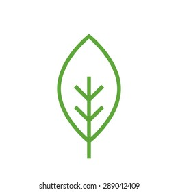 Leaf outline icon, modern minimal flat design style vector illustration, tree linear symbol