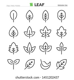 Leaf Outline Icon Set Illustration EPS 10.