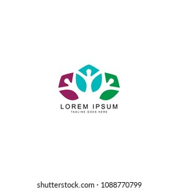 leaf people logo template
