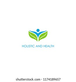 leaf and person holistic and nutrition logo . Human character Health care logo  design inspiration