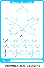 Leaf. Preschool worksheet for practicing fine motor skills - tracing dashed lines. Tracing Worksheet.  Illustration and vector outline - A4 paper ready to print.