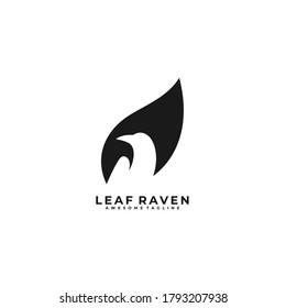Leaf Raven Negative Space Illustration Vector Logo.