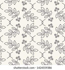 Leaf running stitch embroidery pattern. Simple needlework seamless vector background. Hand drawn geometric floral mosaic textile print. Ecru cream handicraft home decor. Monochrome sashiko style.