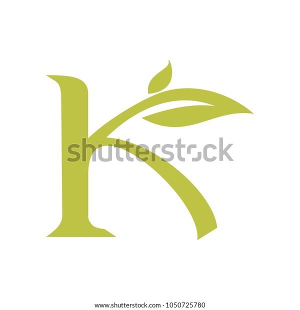 Leaf and Script Letter K