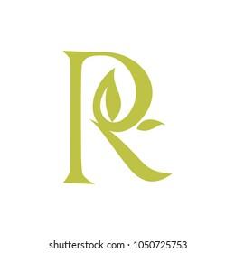 Leaf and Script Letter R