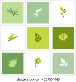 Leaf. Set of design elements