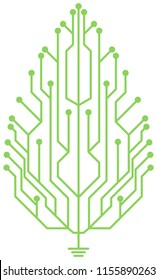 Leaf shaped circuit board logo design. This logo can be used for companies such as eco friendly electronic device manufacturers.