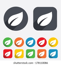 Leaf sign icon. Fresh natural product symbol. Circles and rounded squares 12 buttons. Vector