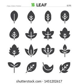 Leaf Solid Glyph Icon Set Illustration EPS 10.