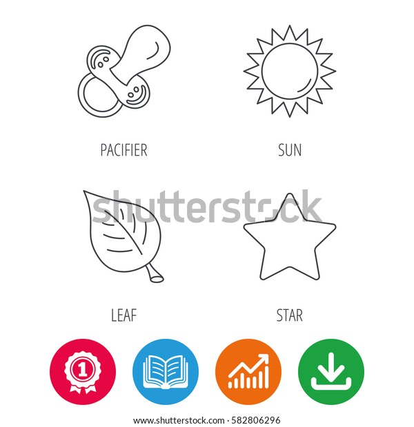 Leaf, star and sun icons. Pacifier linear sign. Award medal, growth chart and opened book web icons. Download arrow. Vector
