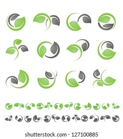 Leaf symbols, icons and signs collection. Set of floral design elements.