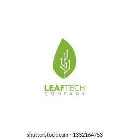 Leaf and Technology Logo Idea, Leaf and circuit combination logo