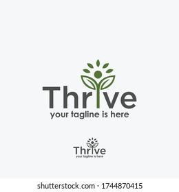 leaf thrive logo template design vector, nature elements logo vector