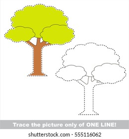 Leaf Tree to be traced only of one line, the tracing educational game to preschool kids with easy game level, the colorful and colorless version.