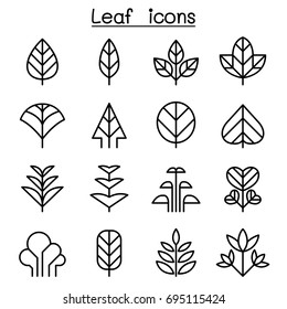 Leaf & tree icon set in thin line style