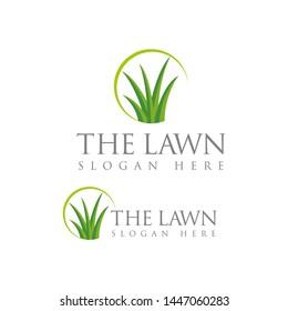 Leaf, tree, lawn, grass logo design template vector illustration