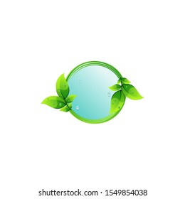 leaf water circle logo design vector abstract
