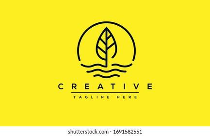 Leaf Water Wind logo design. Lake Tree Leafs icon circle shape design.