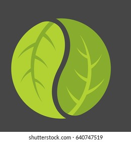 Leaf Yin Yang Logo Vector logo emblem of leaves forming the classic duality symbol of Chinese philosophy.