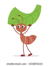 Leafcutter ant vector illustration cartoon isolate on white background. Leafcutter ant cute cartoon. Ant carrying a leaf.