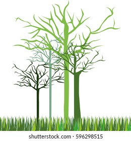 leafless green trees icon, vector illustraction design image