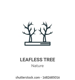 Leafless tree outline vector icon. Thin line black leafless tree icon, flat vector simple element illustration from editable nature concept isolated stroke on white background