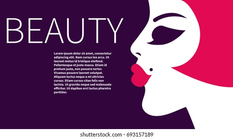 Leaflet with beautiful.  Business card for makeup artist. Card, flyer, banner, beauty salon, hairdressing salon. Vector illustration