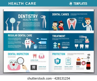 leaflet of dental clinic services. Header banner and icon flat vector design. Cartoon Dentist and Patient illustration. Dental care concept for banner brochure poster
