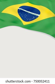 Leaflet design with flag of Brazil. Vector template.