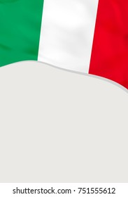Leaflet design with flag of Italy. Vector template.