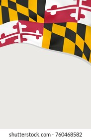 Leaflet design with flag of Maryland, US. Vector template.
