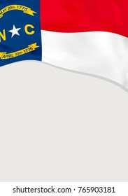 Leaflet design with flag of North Carolina, US. Vector template.