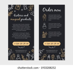 Leaflet or flyer in Doodle style for a magic and witchcraft shop with esoteric items. Vector template with mystical symbols