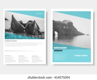 Leaflet layout. Brochure design. Brochure cover. Annual report. Magazine cover, poster template. Cover book. Brochure layout, flyer template. Leaflet design. Nature background. Sea photo. Vector Eps10