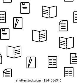 Leaflet Paper Vector Seamless Pattern Thin Line Illustration