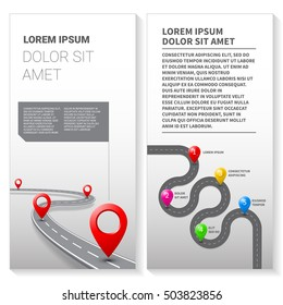 Leaflet with road map vector with street pathway route pin icon on the way track. Vector flyer roadmap template design on white background.