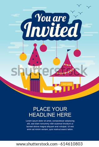 leaflet template design carnival theme invitation stock vector